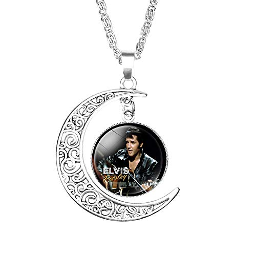 Crafting Mania LLC. 1 Elvis Presley Crescent Moon Pendant Necklace #2 with Glass Dome for Gift - Elvis Presley Dome