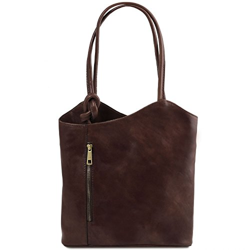 Tuscany Leather Patty - Leather convertible bag - TL141497 (Dark Brown) by Tuscany Leather