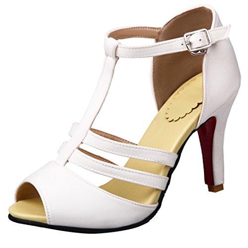 Sandales Toe Satin Aiyoumei Haut T Peep Femmes Talon Sangle qtvp8x
