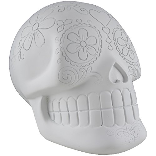 Unique Diy Costumes Halloween (7 Piece Day of the Dead Sugar Skull Decor Set - 1 Dia De Los Muertos Calavera, 6 Professional Dual Tip Colored Permanent Markers - White, Writable, Customizable, Paintable, Non-Toxic, DIY)