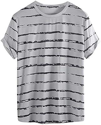 ღLILICATღ Camiseta de Hombre Originales Camisa de Manga Corta para Hombres Camiseta de Rayas Casual de Verano para Hombres Hawaiana Tops de Blusa Jersey Pullover: Amazon.es: Deportes y aire libre