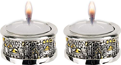(Talisman4U Silver Plated Shabbat Candles Holders Mini Candlesticks Set with Golden Accents Jerusalem Design Judaica Gift)