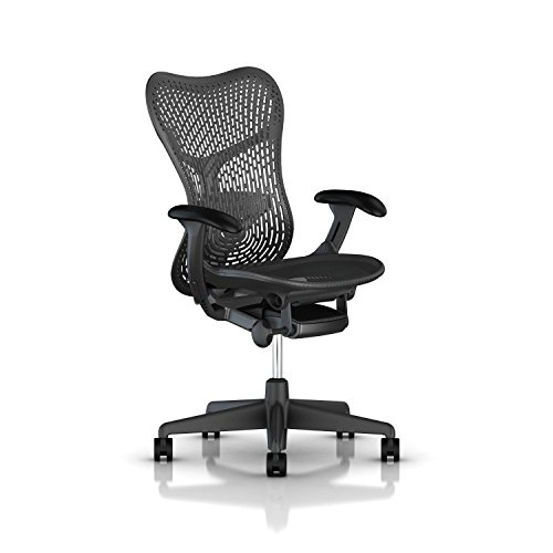Herman Miller Mirra 2 Task Chair: Standard Tilt - Fixed Seat Depth - Non-Adj Back Support - TriFlex Back - Fixed Arms - Graphite Base & (Herman Miller Office Table)