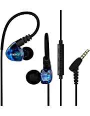 Joysico Sports Headphones Wired Over Ear In-ear Earbuds for Kids Women Small Ears, Earhook Earphones for Running Workout Exercise Jogging, Ear Buds with Microphone and Volume for Cell Phones MP3 Blue