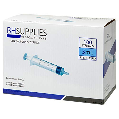 5ml Syringe Sterile with Luer Slip Tip, BH SUPPLIES - (No Needle) Individually Sealed - 100 Syringes - FDA Approved