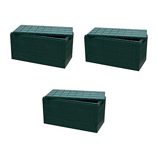 日本製 岩谷マテリアル I'mD (アイムディ) Grid Container グリッドコンテナー グリーン 3個セット 炭の消臭剤付 B0753VW4FT
