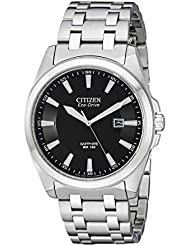 Citizen Mens Eco-Drive Stainless Steel Dress Watch with Date, BM7100-59E