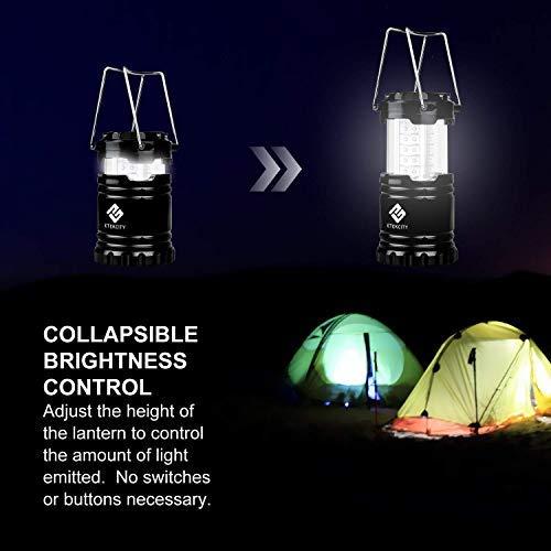 Etekcity - Paquete de 4 linternas LED para linterna portátil para acampar con 12 baterías AA - Kit de supervivencia para emergencias, huracanes, cortes de energía (negro, plegable) (CL10)