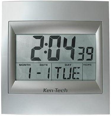Sonnet T-4668 Ken-Tech 2 Number LCD Atomic Alarm Clock, Silver