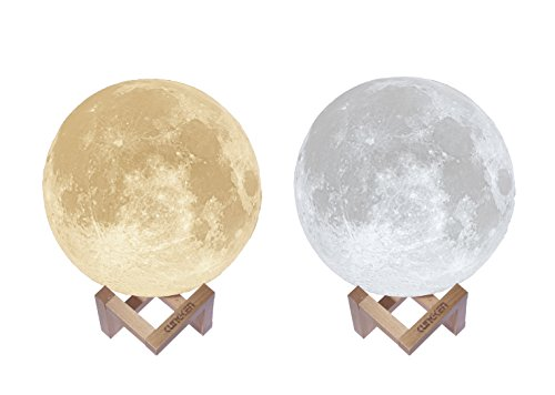 KUNGKEN Rechargeable 3D Printing Moon Lamp Touch Switch Luna Night Light Color And Brightness Adjustable With Wooden Mount 8.67IN by KUNGKEN