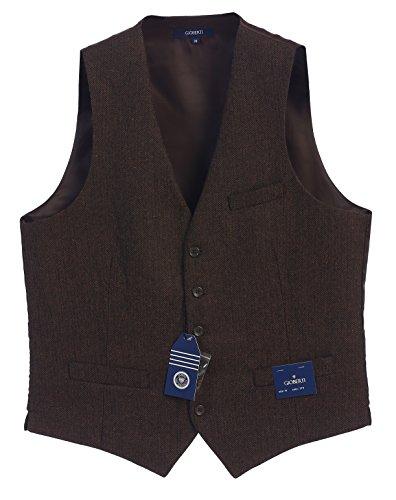Gioberti Men's 5 Button Formal Tweed Suit Vest, Umber Herringbone, X Large