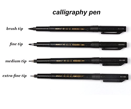 Refillable Brush Marker Pens for Hand Lettering - 4 Size Black Calligraphy Ink Pen for Beginners Writing, Signature, Illustration, Design by BOXUN (Image #1)