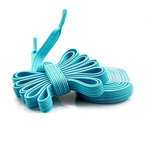 DB Elastic No Tie Shoelaces for Kids and Adults - Wide Athletic Shoelaces - Running Shoelaces for Sneakers and Casual Shoes Sky Blue Shoe Strings ()