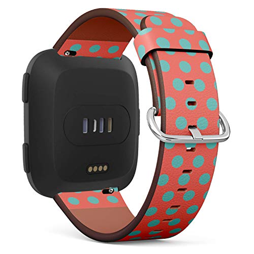 S-Type Replacement Leather Strap Printing Wristbands Compatible with Fitbit Versa Watch Band - Turquoise Polka dots on Living Coral Orange Background