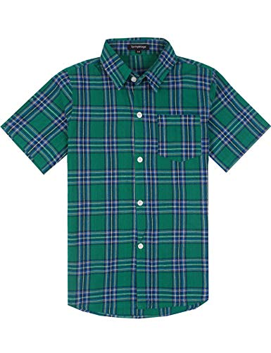 Spring&Gege Boys' Casual Short Sleeve Check Plaid Soft Sport Shirts, Green, 5-6 Years