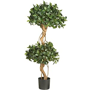 Nearly Natural 5233 Sweet Bay Double Ball Topiary Silk Tree, 4-Feet, Green 48