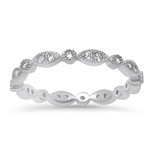 Eternity Band Designer Clear CZ Cute Ring New .925 Sterling Silver Size 10