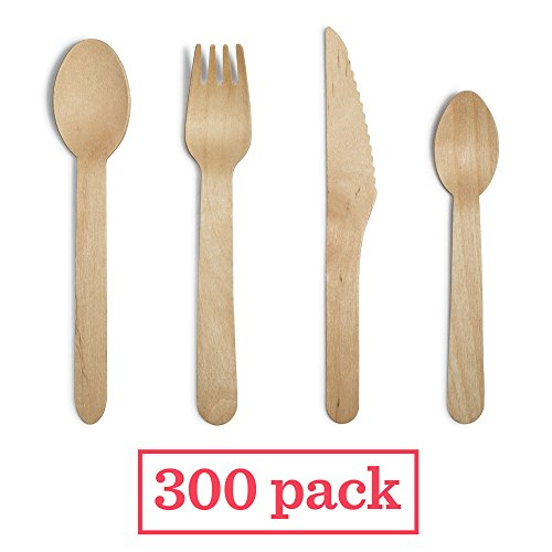 Eco Friendly Wooden Utensils Set – 300 x 6 inch Large Disposable Natural Wood Cutlery in Birch; 100 forks, 100 knives, 50 spoons, 50 dessert spoons – Compostable, Biodegradable, Sturdy, Splinter Free - Exclusive Cutlery Set