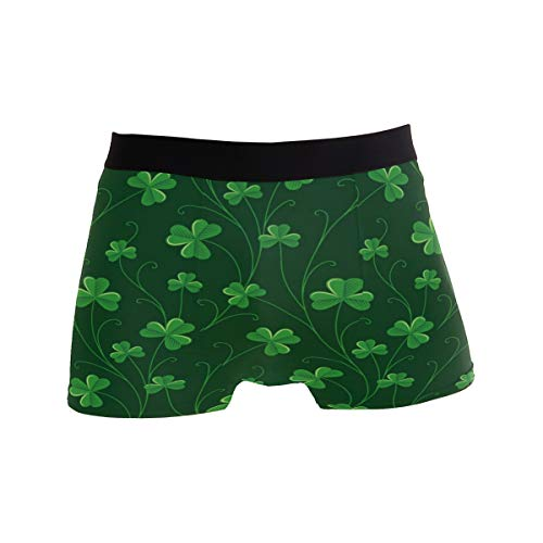 (ZZKKO St Patrick's Day Shamrock Mens Boxer Briefs Underwear Breathable Stretch Boxer Trunk with Pouch M Green )