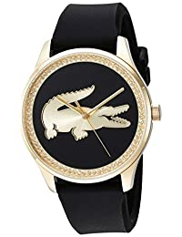 Lacoste Women's 'VICTORIA' Quartz Gold-Tone and Leather Casual Watch, Color:Black (Model: 2000968)