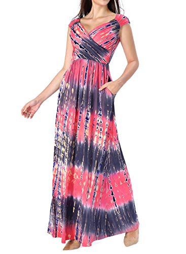 VFSHOW Womens Tie Dye V Neck Ruched Draped Front Pockets Pleated Casual Formal Evening Prom A-Line Maxi Dress G3128 FLW L ()