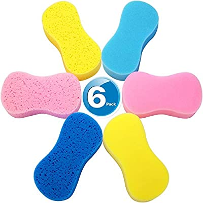 Car Wash Sponges , Multi-Use Cleaning Sponges,Easy grip sponge, large sponges for washing cars, Bone Design Cleaning Polishing Foam for Dishes Washing, Vehicle, Bathroom and Kitchen Cleaning, 6Pcs: Home & Kitchen