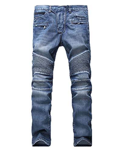 Denim In Jeans Faltig Stile Strappati Slim Fit Lavati Uomo Motociclista Da Semplice Pantaloni Blau 8ZrUZq