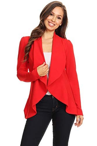 Instar Mode Women's Solid Formal Style Open Front Long Sleeves Blazer - Made in USA, Ibzw005 Red, Small ()