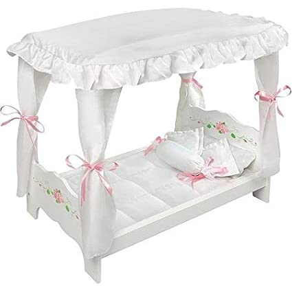 Remarkable Badger Basket White Rose Doll Canopy Bed Fits Most 18 Dolls My Life As Home Interior And Landscaping Ologienasavecom