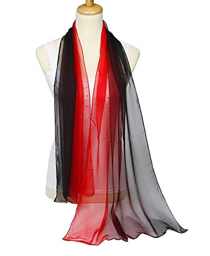 (Fashion Sheer Scarf Gradient Shaded Color Long Lightweight Sunscreen Shawls Scarves for Women (Red Black))