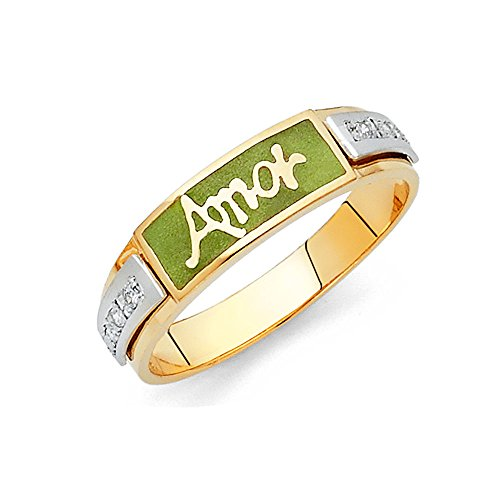 Yellow Green Enamel Ring - 6
