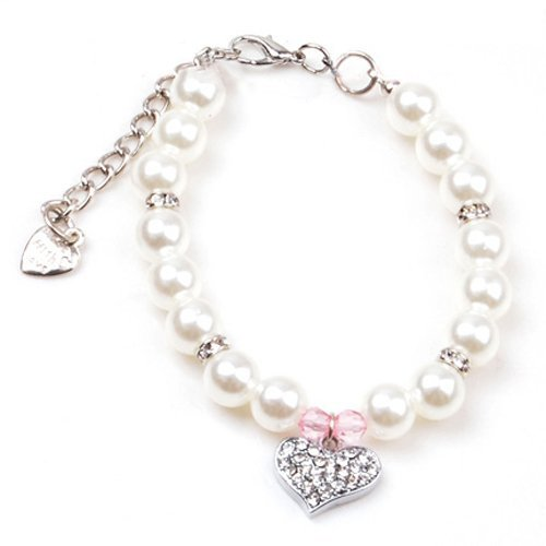 PETFAVORITES Fancy Pinky Crystal Heart Pet Cat Dog Necklace Jewelry with Bling Pearls Rhinestones Charm for Pets Cats Small Dogs Girl Teacup Chihuahua Yorkie Clothes Costume Outfits (Neck Size: 8'') by PetFavorites