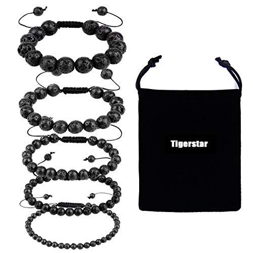 Tigerstar Natural Lava Rock Beads Bracelet 5PCS Set, Adjustable Braided Rope Gemstone Bracelet Essential Oil Diffuser Bracelet Stretch Yoga Beaded Bangle Healing Energy Cuff for Men,Women and Kids