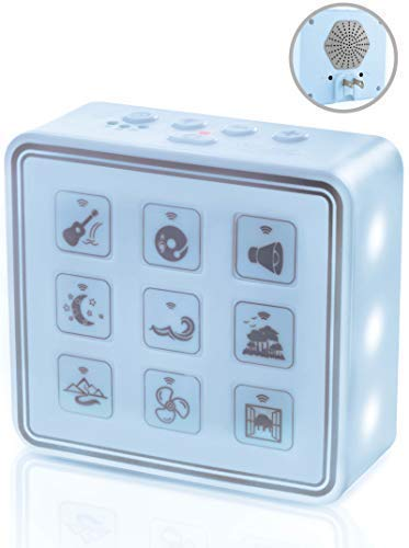 blue For Home /& Travel Portable /& Compact Plug-In Nightlight White Noise Sound Machine Headphone Jack /& USB Cord Auto Timer Relaxing Sleep Therapy for Adults /& Baby w//9 Natural Sound Settings