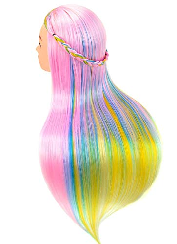 Cosmetology Mannequin Manikin Heads with Hair , Colorful Mannequin Practice Dolls Head- Synthetic Hair (Pink Series)