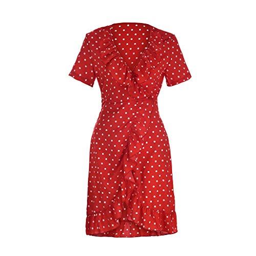 Transer- Retro Pokal Dot Dress Short Sleeve V Neck Ruffles Tie High Waist Skater Mini Dresses