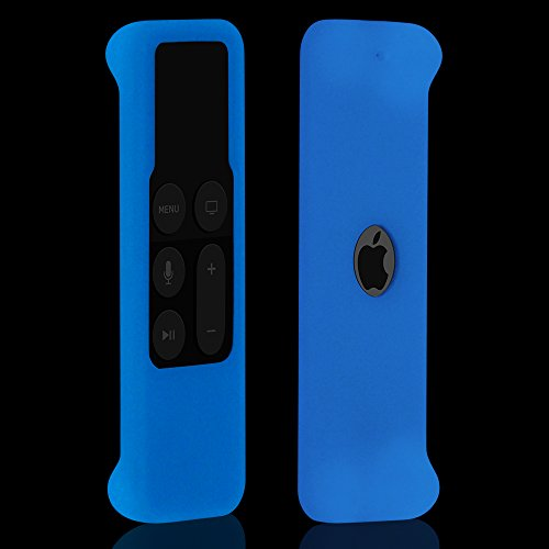 Glow Remote - Remote Case for Apple TV 4th Generation, Protective Silicone Cover Lightweight [Anti Slip] Shock Proof Skin Holder for New Apple TV 4K /Gen 4 Siri Remote Controller, Blue Glow in the Dark