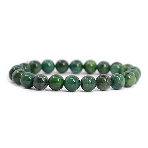 Natural African Serpentine Gemstone 8mm Round Beads Stretch Bracelet 7