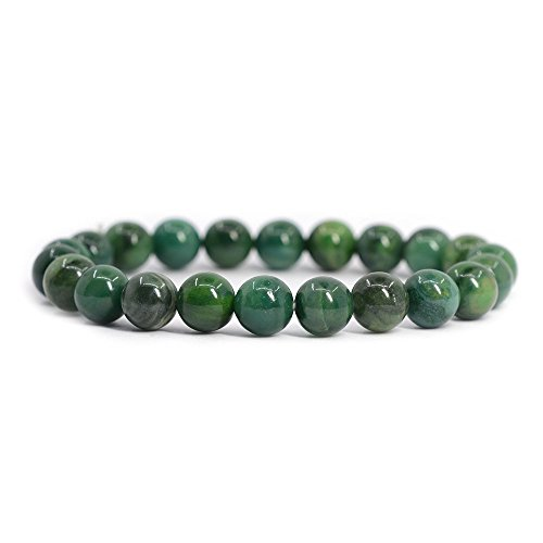 Green Stone Bangle - Natural African Serpentine Gemstone 8mm Round Beads Stretch Bracelet 7