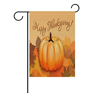 """ONEERA Thanksgiving Day Pumpkin Fall Leaves Weatherproof Polyester House Flag 28"""" x 40"""""""