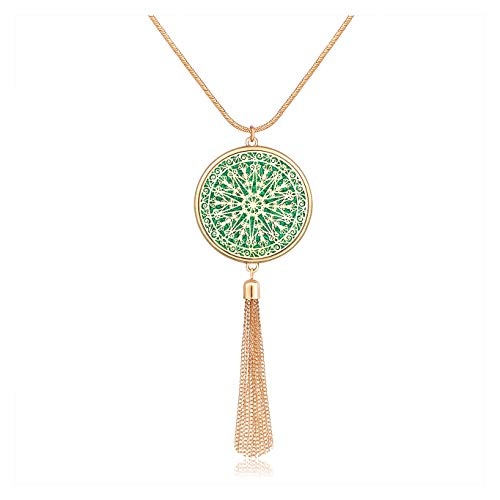 MOLOCH Long Necklaces for Woman Disk Circle Pendant Necklaces Tassel Fringe Necklace Set Statement Pendant (Disk-Gold-Green)
