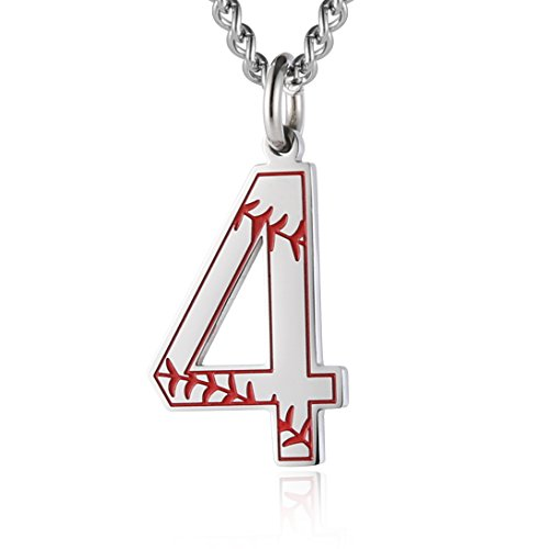 Sport Charm Baseball - HZMAN Baseball Initial Pendant Necklace Inspiration Baseball Jersey Number 0-9 Charms Stainless Steel Necklace (4 - Silver)