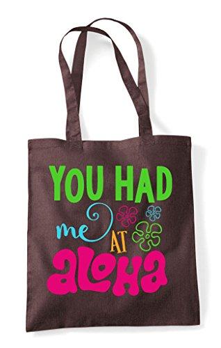 Tote Had Me You Brown Bag Shopper Aloha wPRtB