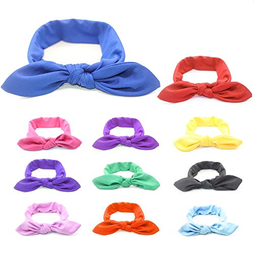 (12 Pack) Solid Color Headbands for Girls Rabbit Ears Accessories Fashion Headbands