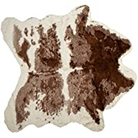 LUXE FAUX COWHIDE RUG/THROW 4 1/4X5 BROWN & WHITE