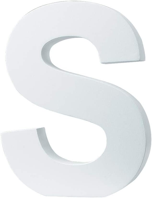 """5.9""""(L x4.5(H) x0.8(W) 15x11.5x2cm Wall Letters Marquee Alphabet S Wood Wooden Number DIY Block Words Sign Hanging Decor Letter for Home Bedroom Office Wedding Party Decor White"""