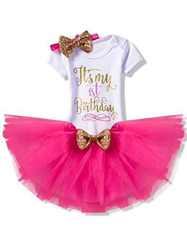 NNJXD Girl Newborn It's My 1st Birthday 3 Pcs/4 Pcs Outfits Romper+Skirt+Headband(+Leggings) Size 1 (1 Year) (Party Girl Outfits)