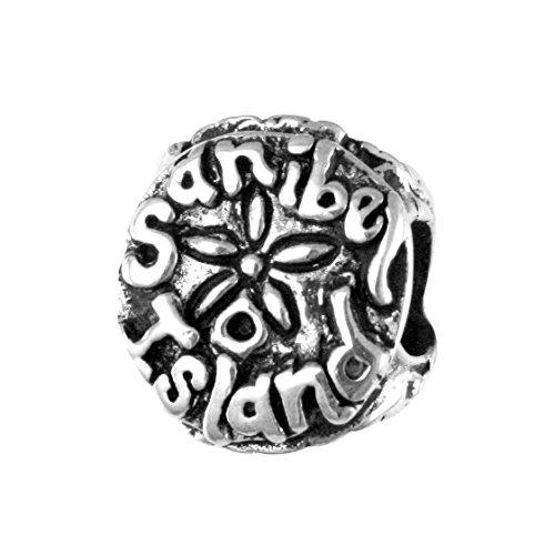 - Sanibel Island, FL - Sand Dollar - Handmade Sterling Silver Large Hole Charm Bead