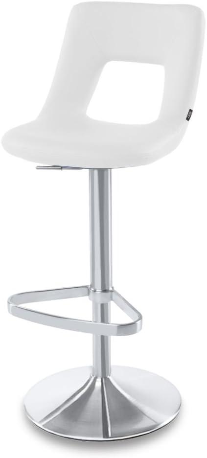 Zuri Furniture White Jazz Adjustable Height Swivel Armless Bar Stool