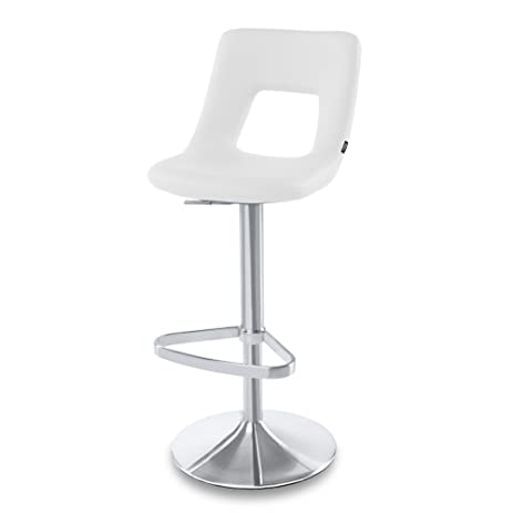 2160d0719b48 Amazon.com: White Jazz Adjustable Height Swivel Armless Bar Stool ...
